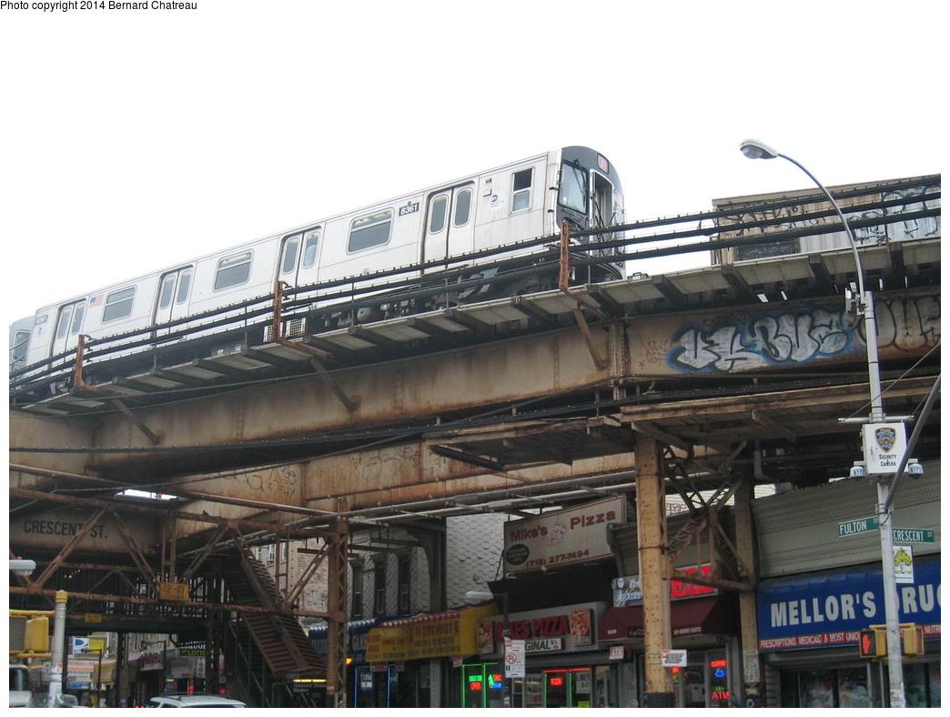 (286k, 1044x788)<br><b>Country:</b> United States<br><b>City:</b> New York<br><b>System:</b> New York City Transit<br><b>Line:</b> BMT Nassau Street/Jamaica Line<br><b>Location:</b> Crescent Street <br><b>Route:</b> J<br><b>Car:</b> R-160A-1 (Alstom, 2005-2008, 4 car sets)  8361 <br><b>Photo by:</b> Bernard Chatreau<br><b>Date:</b> 9/28/2011<br><b>Viewed (this week/total):</b> 1 / 517