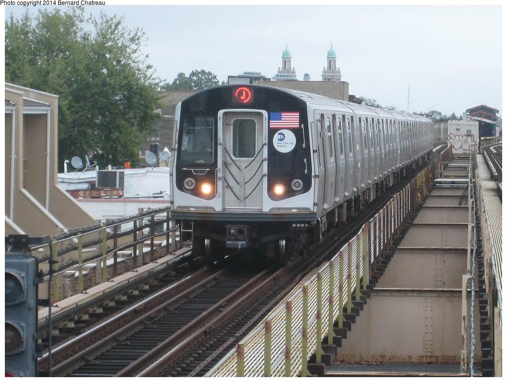 (354k, 1044x787)<br><b>Country:</b> United States<br><b>City:</b> New York<br><b>System:</b> New York City Transit<br><b>Line:</b> BMT Nassau Street/Jamaica Line<br><b>Location:</b> Cleveland Street <br><b>Route:</b> J<br><b>Car:</b> R-160A/R-160B Series (Number Unknown)  <br><b>Photo by:</b> Bernard Chatreau<br><b>Date:</b> 9/28/2011<br><b>Viewed (this week/total):</b> 4 / 513