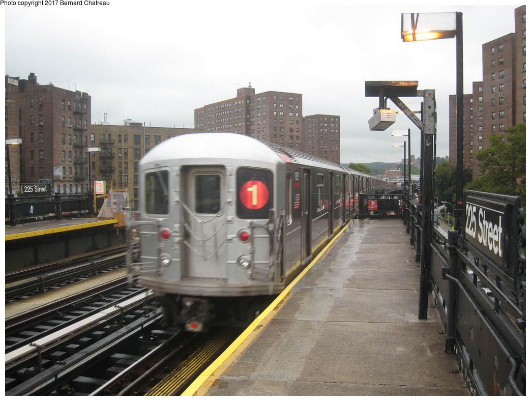(307k, 1044x788)<br><b>Country:</b> United States<br><b>City:</b> New York<br><b>System:</b> New York City Transit<br><b>Line:</b> IRT West Side Line<br><b>Location:</b> 225th Street <br><b>Route:</b> 1<br><b>Car:</b> R-62A (Bombardier, 1984-1987)  1851 <br><b>Photo by:</b> Bernard Chatreau<br><b>Date:</b> 9/23/2011<br><b>Viewed (this week/total):</b> 3 / 238