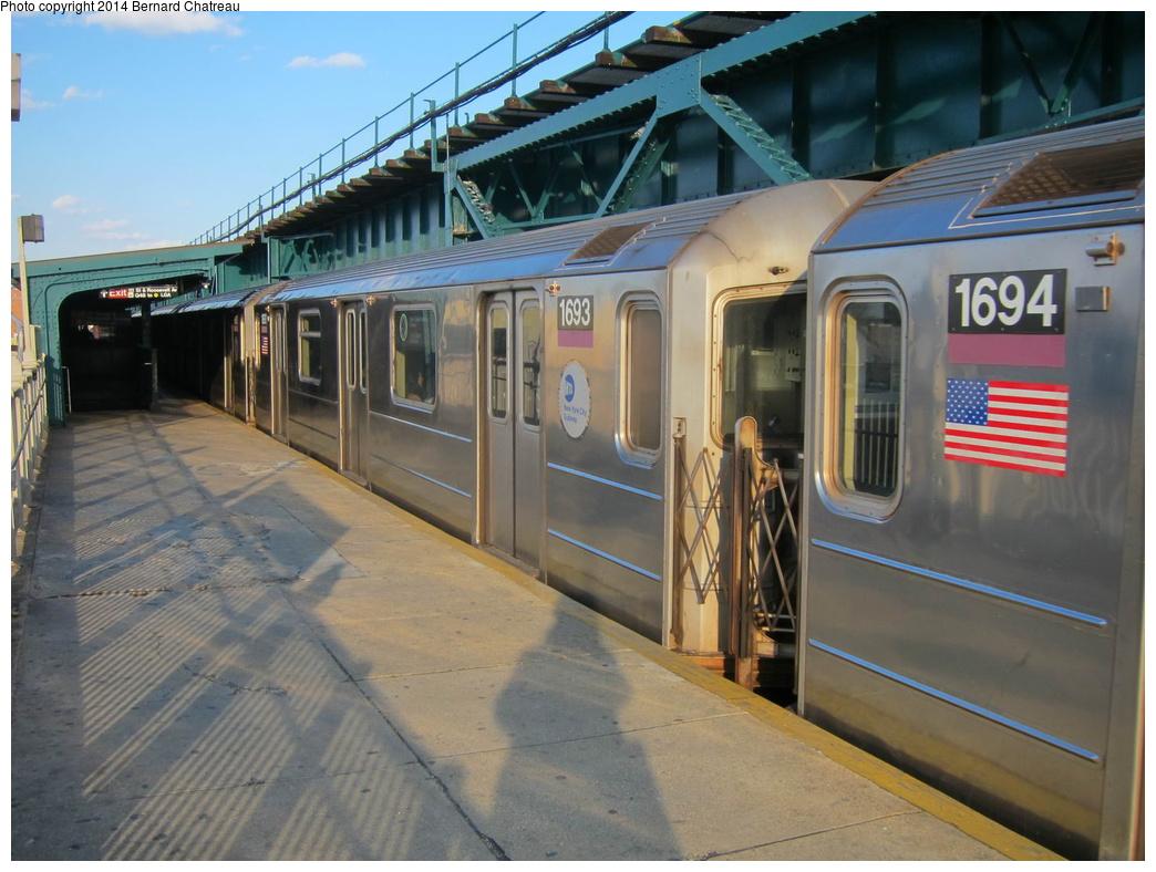 (307k, 1044x788)<br><b>Country:</b> United States<br><b>City:</b> New York<br><b>System:</b> New York City Transit<br><b>Line:</b> IRT Flushing Line<br><b>Location:</b> 111th Street <br><b>Route:</b> 7<br><b>Car:</b> R-62A (Bombardier, 1984-1987)  1693 <br><b>Photo by:</b> Bernard Chatreau<br><b>Date:</b> 4/17/2011<br><b>Viewed (this week/total):</b> 1 / 497