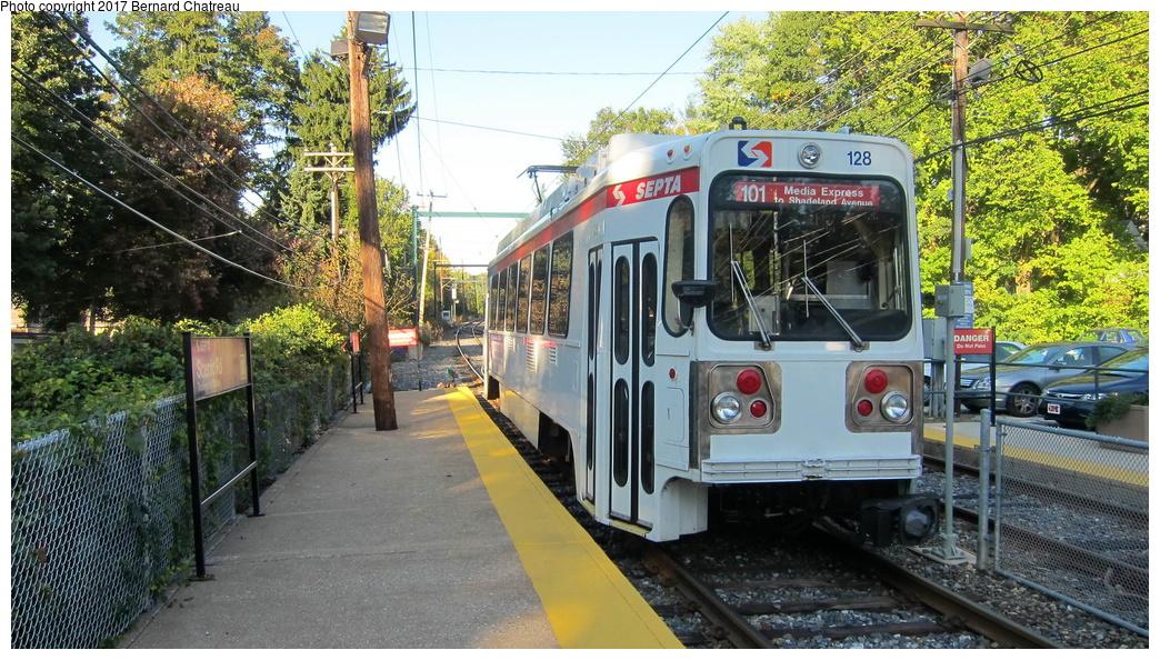 (378k, 1044x594)<br><b>Country:</b> United States<br><b>City:</b> Philadelphia, PA<br><b>System:</b> SEPTA (or Predecessor)<br><b>Line:</b> Rt. 101-Media<br><b>Location:</b> Scenic Road<br><b>Route:</b> 101<br><b>Car:</b> SEPTA K Double-ended (Kawasaki, 1981) 128 <br><b>Photo by:</b> Bernard Chatreau<br><b>Date:</b> 10/7/2011<br><b>Viewed (this week/total):</b> 1 / 253