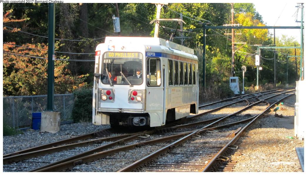 (357k, 1044x595)<br><b>Country:</b> United States<br><b>City:</b> Philadelphia, PA<br><b>System:</b> SEPTA (or Predecessor)<br><b>Line:</b> Rt. 101-Media<br><b>Location:</b> Scenic Road<br><b>Route:</b> 101<br><b>Car:</b> SEPTA K Double-ended (Kawasaki, 1981) 110 <br><b>Photo by:</b> Bernard Chatreau<br><b>Date:</b> 10/7/2011<br><b>Viewed (this week/total):</b> 3 / 286