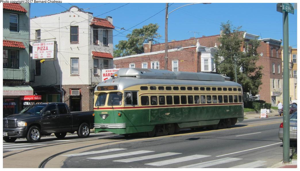 (275k, 1044x595)<br><b>Country:</b> United States<br><b>City:</b> Philadelphia, PA<br><b>System:</b> SEPTA (or Predecessor)<br><b>Line:</b> Rt. 15-Girard<br><b>Location:</b> Girard/63rd<br><b>Route:</b> 15<br><b>Car:</b> SEPTA PCC-II Rebuild (Brookville Equip., 2003) 2334 <br><b>Photo by:</b> Bernard Chatreau<br><b>Date:</b> 10/7/2011<br><b>Viewed (this week/total):</b> 2 / 201