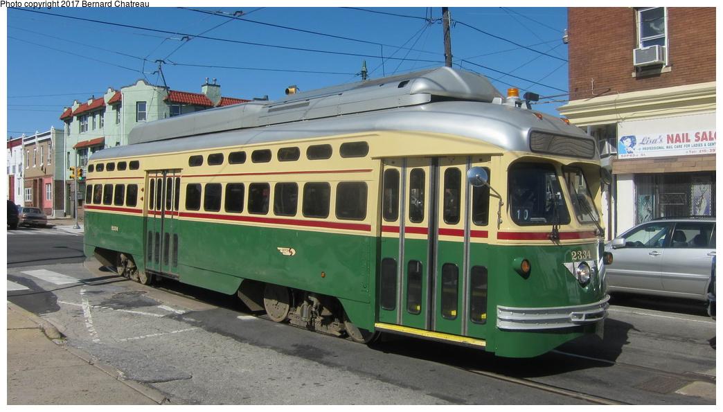 (262k, 1044x595)<br><b>Country:</b> United States<br><b>City:</b> Philadelphia, PA<br><b>System:</b> SEPTA (or Predecessor)<br><b>Line:</b> Rt. 15-Girard<br><b>Location:</b> Girard/63rd<br><b>Route:</b> 15<br><b>Car:</b> SEPTA PCC-II Rebuild (Brookville Equip., 2003) 2334 <br><b>Photo by:</b> Bernard Chatreau<br><b>Date:</b> 10/7/2011<br><b>Viewed (this week/total):</b> 1 / 192