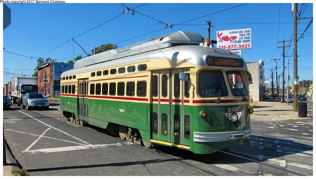 (302k, 1044x594)<br><b>Country:</b> United States<br><b>City:</b> Philadelphia, PA<br><b>System:</b> SEPTA (or Predecessor)<br><b>Line:</b> Rt. 15-Girard<br><b>Location:</b> Girard/48th/Lancaster<br><b>Route:</b> 15<br><b>Car:</b> SEPTA PCC-II Rebuild (Brookville Equip., 2003) 2334 <br><b>Photo by:</b> Bernard Chatreau<br><b>Date:</b> 10/7/2011<br><b>Viewed (this week/total):</b> 2 / 219