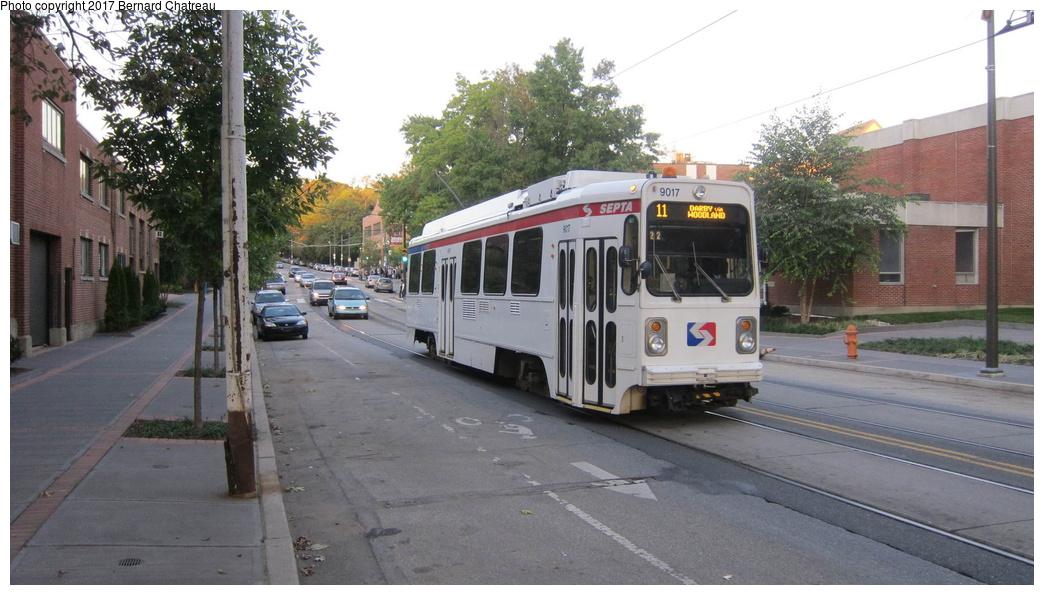 (266k, 1044x595)<br><b>Country:</b> United States<br><b>City:</b> Philadelphia, PA<br><b>System:</b> SEPTA (or Predecessor)<br><b>Line:</b> Rt. 11-Darby<br><b>Location:</b> Woodland/43rd/45th<br><b>Route:</b> 11<br><b>Car:</b> SEPTA K Single-ended (Kawasaki, 1981) 9017 <br><b>Photo by:</b> Bernard Chatreau<br><b>Date:</b> 10/7/2011<br><b>Viewed (this week/total):</b> 2 / 342