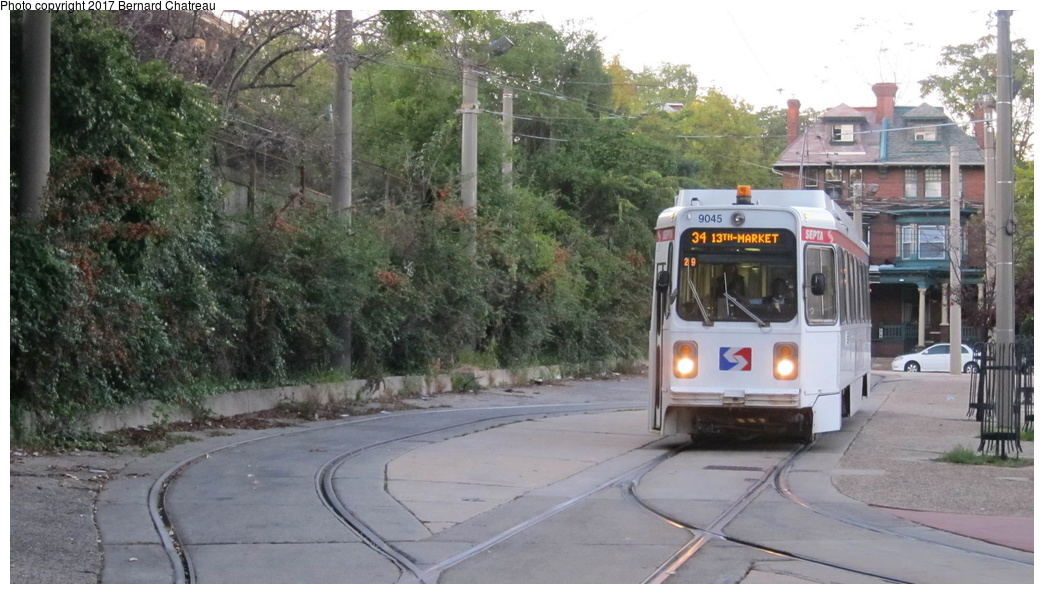 (267k, 1044x594)<br><b>Country:</b> United States<br><b>City:</b> Philadelphia, PA<br><b>System:</b> SEPTA (or Predecessor)<br><b>Line:</b> Rt. 34-Angora<br><b>Location:</b> Woodland/40th (40th St Portal)<br><b>Car:</b> SEPTA K Single-ended (Kawasaki, 1981) 9045 <br><b>Photo by:</b> Bernard Chatreau<br><b>Date:</b> 10/7/2011<br><b>Viewed (this week/total):</b> 3 / 314