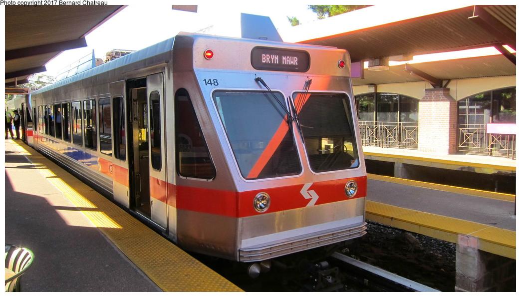 (267k, 1044x595)<br><b>Country:</b> United States<br><b>City:</b> Philadelphia, PA<br><b>System:</b> SEPTA (or Predecessor)<br><b>Line:</b> 100-Norristown<br><b>Location:</b> 69th Street<br><b>Car:</b> SEPTA N-5 LRV (Asea-Brown-Boveri, 1993) 148 <br><b>Photo by:</b> Bernard Chatreau<br><b>Date:</b> 10/7/2011<br><b>Viewed (this week/total):</b> 1 / 257