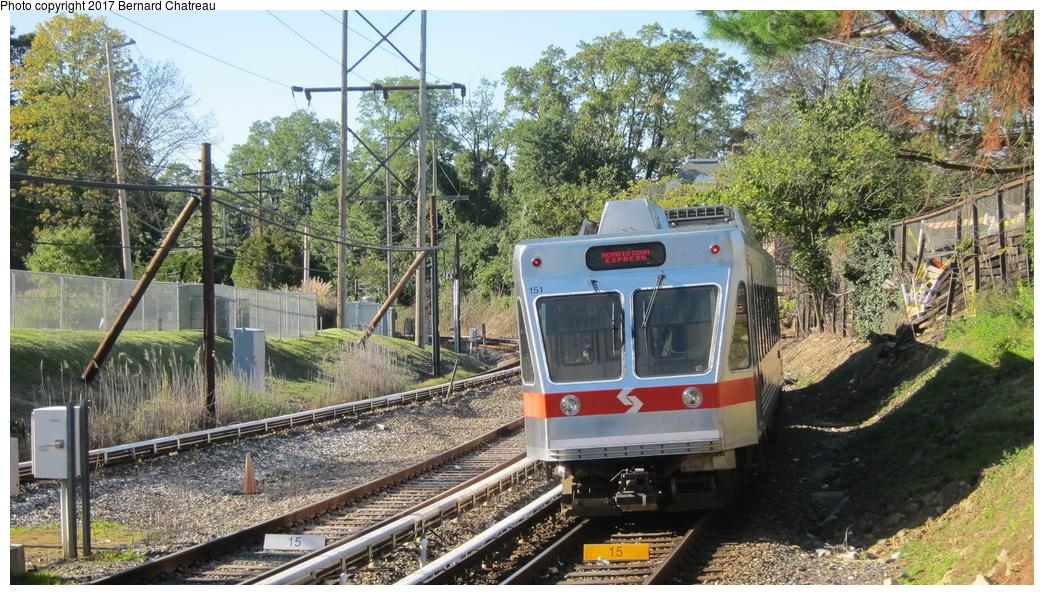 (398k, 1044x595)<br><b>Country:</b> United States<br><b>City:</b> Philadelphia, PA<br><b>System:</b> SEPTA (or Predecessor)<br><b>Line:</b> 100-Norristown<br><b>Location:</b> Bryn Mawr<br><b>Car:</b> SEPTA N-5 LRV (Asea-Brown-Boveri, 1993) 151 <br><b>Photo by:</b> Bernard Chatreau<br><b>Date:</b> 10/7/2011<br><b>Viewed (this week/total):</b> 1 / 237