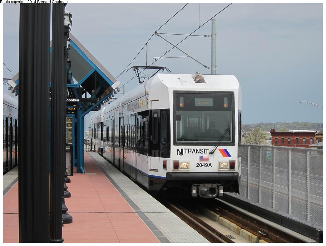(256k, 1044x788)<br><b>Country:</b> United States<br><b>City:</b> Jersey City, NJ<br><b>System:</b> Hudson Bergen Light Rail<br><b>Location:</b> Bayonne 8th Street<br><b>Car:</b> NJT-HBLR LRV (Kinki-Sharyo, 1998-99) 2049 <br><b>Photo by:</b> Bernard Chatreau<br><b>Date:</b> 4/18/2011<br><b>Viewed (this week/total):</b> 2 / 191
