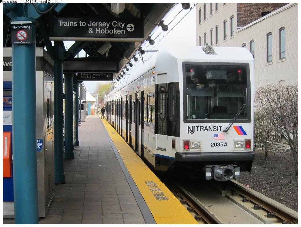 (320k, 1044x788)<br><b>Country:</b> United States<br><b>City:</b> Jersey City, NJ<br><b>System:</b> Hudson Bergen Light Rail<br><b>Location:</b> West Side Avenue<br><b>Car:</b> NJT-HBLR LRV (Kinki-Sharyo, 1998-99) 2035 <br><b>Photo by:</b> Bernard Chatreau<br><b>Date:</b> 4/18/2011<br><b>Viewed (this week/total):</b> 2 / 166