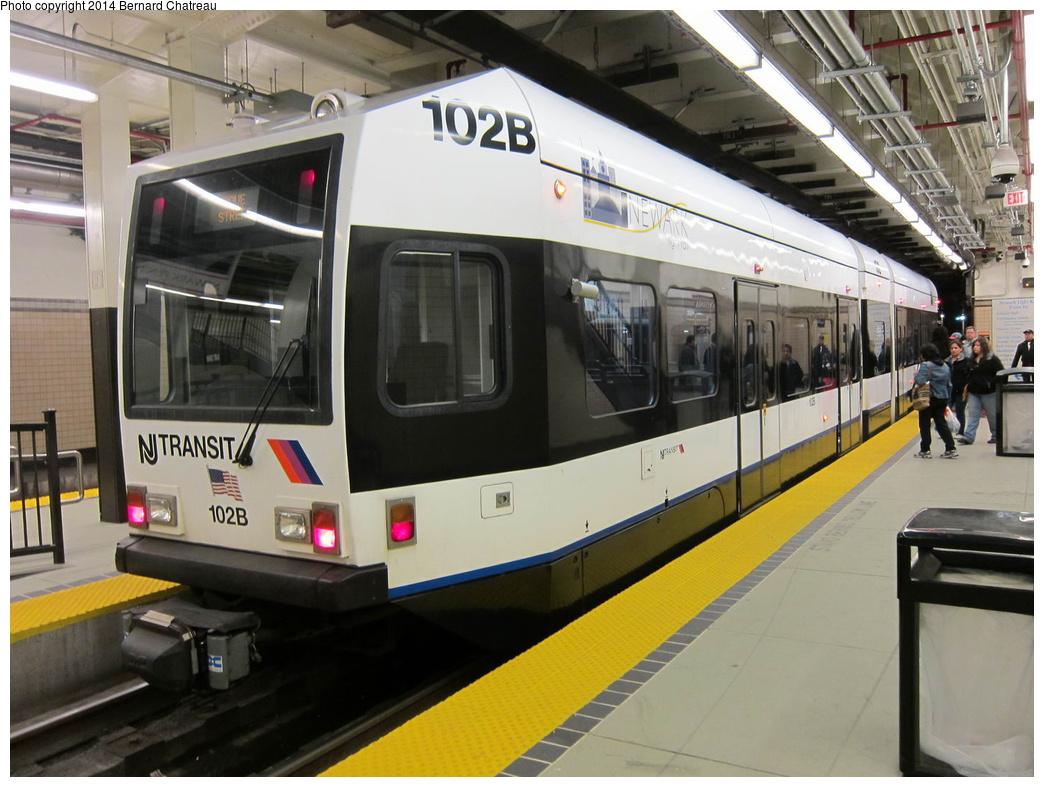 (300k, 1044x787)<br><b>Country:</b> United States<br><b>City:</b> Newark, NJ<br><b>System:</b> Newark City Subway<br><b>Location:</b> Penn Station<br><b>Car:</b> NJT Kinki-Sharyo LRV (Newark) 102 <br><b>Photo by:</b> Bernard Chatreau<br><b>Date:</b> 4/18/2011<br><b>Viewed (this week/total):</b> 0 / 275