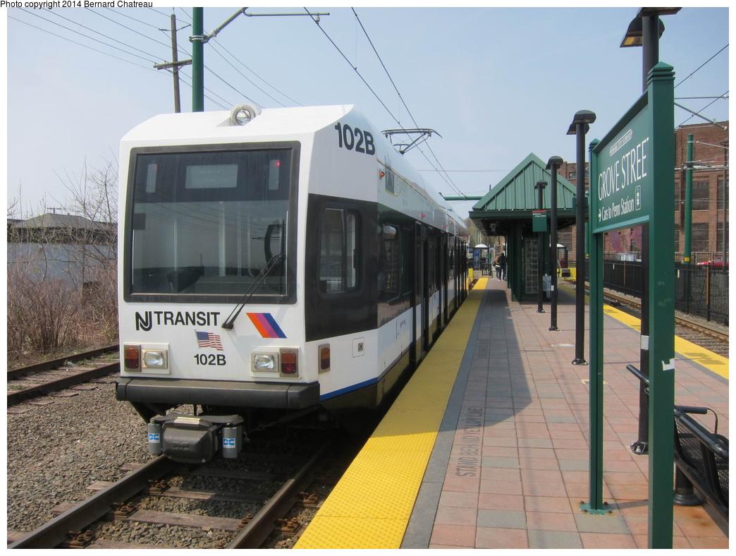 (305k, 1044x788)<br><b>Country:</b> United States<br><b>City:</b> Bloomfield, NJ<br><b>System:</b> Newark City Subway<br><b>Location:</b> Grove Street<br><b>Car:</b> NJT Kinki-Sharyo LRV (Newark) 102 <br><b>Photo by:</b> Bernard Chatreau<br><b>Date:</b> 4/18/2011<br><b>Viewed (this week/total):</b> 3 / 221
