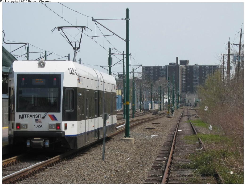 (305k, 1044x788)<br><b>Country:</b> United States<br><b>City:</b> Bloomfield, NJ<br><b>System:</b> Newark City Subway<br><b>Location:</b> Grove Street<br><b>Car:</b> NJT Kinki-Sharyo LRV (Newark) 102 <br><b>Photo by:</b> Bernard Chatreau<br><b>Date:</b> 4/18/2011<br><b>Viewed (this week/total):</b> 2 / 270