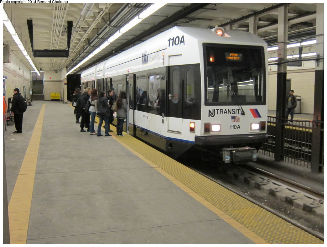 (295k, 1044x788)<br><b>Country:</b> United States<br><b>City:</b> Newark, NJ<br><b>System:</b> Newark City Subway<br><b>Location:</b> Washington Street<br><b>Car:</b> NJT Kinki-Sharyo LRV (Newark) 110 <br><b>Photo by:</b> Bernard Chatreau<br><b>Date:</b> 4/18/2011<br><b>Viewed (this week/total):</b> 5 / 264