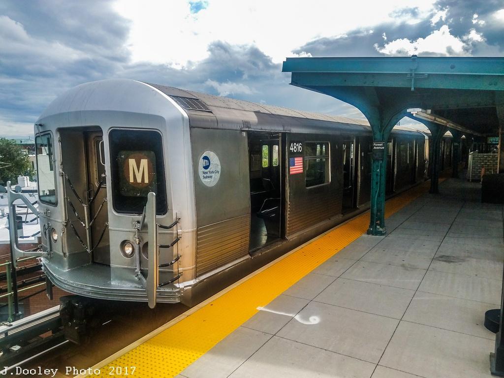 (280k, 1024x768)<br><b>Country:</b> United States<br><b>City:</b> New York<br><b>System:</b> New York City Transit<br><b>Line:</b> BMT Myrtle Avenue Line<br><b>Location:</b> Forest Avenue <br><b>Route:</b> M shuttle<br><b>Car:</b> R-42 (St. Louis, 1969-1970)  4816 <br><b>Photo by:</b> John Dooley<br><b>Date:</b> 9/3/2017<br><b>Viewed (this week/total):</b> 4 / 702