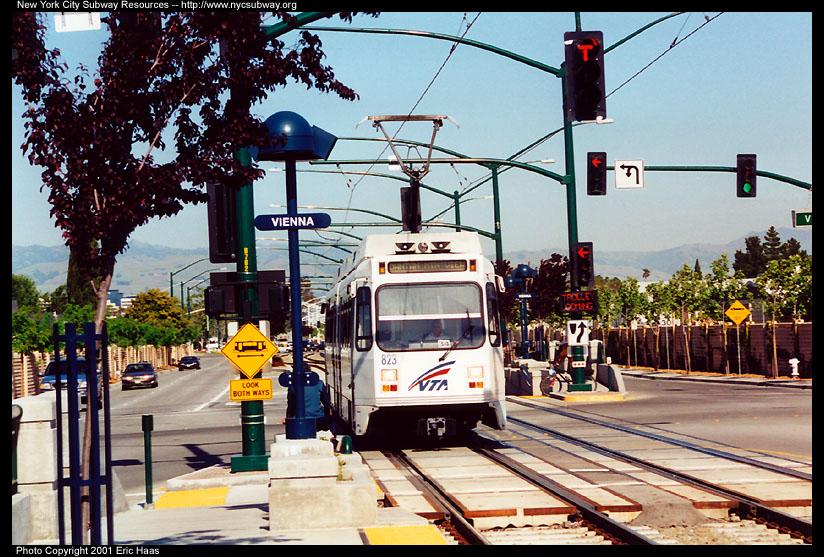 (184k, 824x557)<br><b>Country:</b> United States<br><b>City:</b> San Jose, CA<br><b>System:</b> Santa Clara VTA<br><b>Line:</b> VTA Tasman West/Mountain View<br><b>Location:</b> Vienna <br><b>Car:</b> VTA UTDC 823 <br><b>Photo by:</b> Eric Haas<br><b>Date:</b> 5/4/2001<br><b>Viewed (this week/total):</b> 0 / 1944