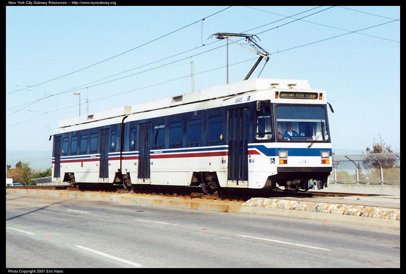 (109k, 824x557)<br><b>Country:</b> United States<br><b>City:</b> San Jose, CA<br><b>System:</b> Santa Clara VTA<br><b>Line:</b> VTA Tasman West/Mountain View<br><b>Location:</b> Lick Mill <br><b>Car:</b> VTA UTDC 845 <br><b>Photo by:</b> Eric Haas<br><b>Date:</b> 4/16/2001<br><b>Viewed (this week/total):</b> 1 / 1963