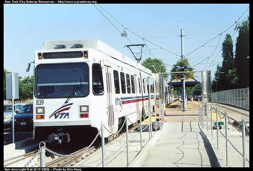 (168k, 824x558)<br><b>Country:</b> United States<br><b>City:</b> San Jose, CA<br><b>System:</b> Santa Clara VTA<br><b>Line:</b> VTA 1st St/Downtown/St. Teresa<br><b>Location:</b> Tasman <br><b>Car:</b> VTA UTDC 839 <br><b>Photo by:</b> Eric Haas<br><b>Date:</b> 5/17/2000<br><b>Viewed (this week/total):</b> 2 / 1888