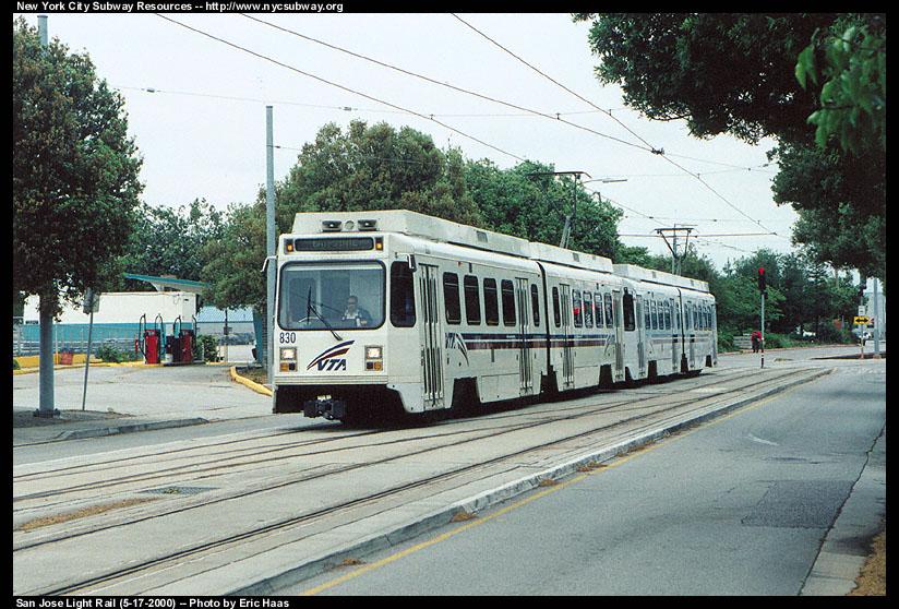 (182k, 824x558)<br><b>Country:</b> United States<br><b>City:</b> San Jose, CA<br><b>System:</b> Santa Clara VTA<br><b>Line:</b> VTA 1st St/Downtown/St. Teresa<br><b>Location:</b> N. 1st & Younger (Yard Leads) <br><b>Car:</b> VTA UTDC 830 <br><b>Photo by:</b> Eric Haas<br><b>Date:</b> 5/17/2000<br><b>Notes:</b> Train leaving the yard on its way to enter service<br><b>Viewed (this week/total):</b> 0 / 1962
