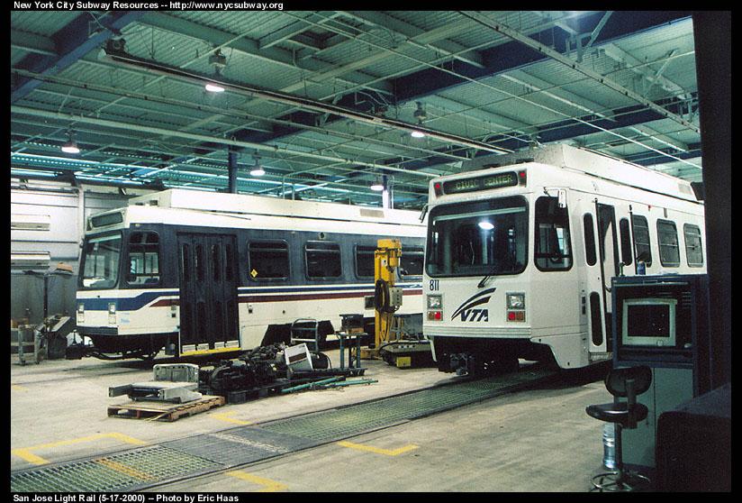 (175k, 824x558)<br><b>Country:</b> United States<br><b>City:</b> San Jose, CA<br><b>System:</b> Santa Clara VTA<br><b>Line:</b> VTA 1st St/Downtown/St. Teresa<br><b>Location:</b> VTA Shops/Yard <br><b>Car:</b> VTA UTDC 811 <br><b>Photo by:</b> Eric Haas<br><b>Date:</b> 5/17/2000<br><b>Viewed (this week/total):</b> 0 / 2010