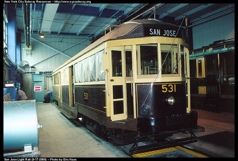 (152k, 824x558)<br><b>Country:</b> United States<br><b>City:</b> San Jose, CA<br><b>System:</b> Santa Clara VTA<br><b>Line:</b> VTA 1st St/Downtown/St. Teresa<br><b>Location:</b> VTA Shops/Yard <br><b>Car:</b> Melbourne W2 Class (1923-1931)  531 <br><b>Photo by:</b> Eric Haas<br><b>Date:</b> 5/17/2000<br><b>Notes:</b> Car 531, ran in Melbourne, Australia from 1928 until the mid-1980s<br><b>Viewed (this week/total):</b> 1 / 1919