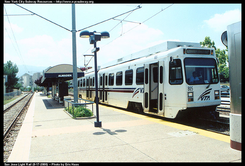 (149k, 824x558)<br><b>Country:</b> United States<br><b>City:</b> San Jose, CA<br><b>System:</b> Santa Clara VTA<br><b>Line:</b> VTA Almaden Shuttle<br><b>Location:</b> Almaden <br><b>Car:</b> VTA UTDC 805 <br><b>Photo by:</b> Eric Haas<br><b>Date:</b> 5/17/2000<br><b>Viewed (this week/total):</b> 0 / 2068