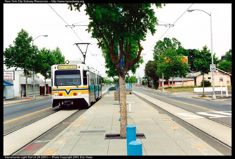 (168k, 824x557)<br><b>Country:</b> United States<br><b>City:</b> Sacramento, CA<br><b>System:</b> SACRT Light Rail<br><b>Location:</b> Globe Avenue <br><b>Car:</b> Sacramento Siemens LRV  114 <br><b>Photo by:</b> Eric Haas<br><b>Date:</b> 4/28/2001<br><b>Viewed (this week/total):</b> 0 / 2054