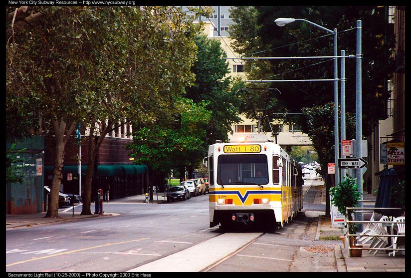 (184k, 824x557)<br><b>Country:</b> United States<br><b>City:</b> Sacramento, CA<br><b>System:</b> SACRT Light Rail<br><b>Location:</b> St. Rose of Lima Park <br><b>Car:</b> Sacramento Siemens LRV  128 <br><b>Photo by:</b> Eric Haas<br><b>Date:</b> 10/25/2000<br><b>Viewed (this week/total):</b> 1 / 1892