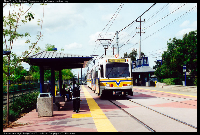 (160k, 824x557)<br><b>Country:</b> United States<br><b>City:</b> Sacramento, CA<br><b>System:</b> SACRT Light Rail<br><b>Location:</b> Butterfield <br><b>Car:</b> Sacramento Siemens LRV  122 <br><b>Photo by:</b> Eric Haas<br><b>Date:</b> 4/28/2001<br><b>Viewed (this week/total):</b> 0 / 1665