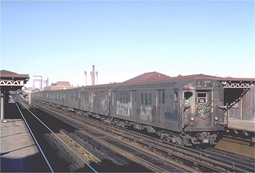 (182k, 1024x697)<br><b>Country:</b> United States<br><b>City:</b> New York<br><b>System:</b> New York City Transit<br><b>Line:</b> IRT West Side Line<br><b>Location:</b> 207th Street <br><b>Route:</b> 1<br><b>Car:</b> R-22 (St. Louis, 1957-58) 7322 <br><b>Photo by:</b> Steve Zabel<br><b>Collection of:</b> Joe Testagrose<br><b>Date:</b> 2/25/1982<br><b>Viewed (this week/total):</b> 0 / 4160