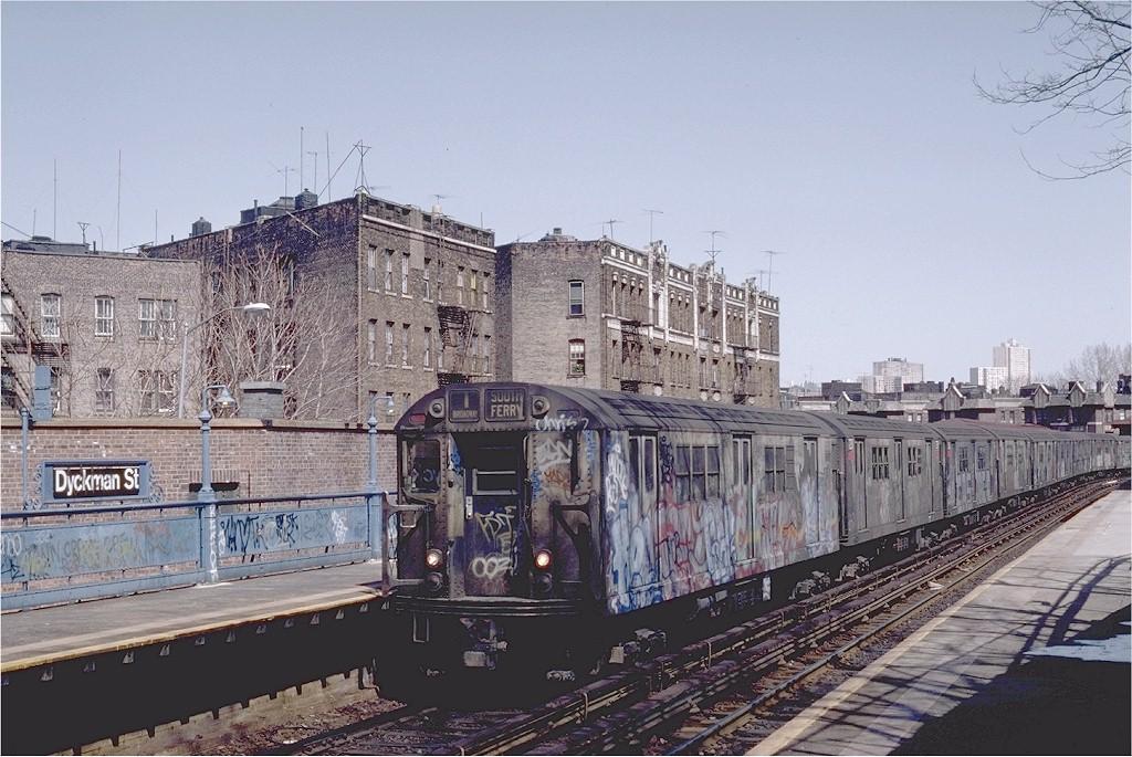 (222k, 1024x685)<br><b>Country:</b> United States<br><b>City:</b> New York<br><b>System:</b> New York City Transit<br><b>Line:</b> IRT West Side Line<br><b>Location:</b> Dyckman Street <br><b>Route:</b> 1<br><b>Car:</b> R-22 (St. Louis, 1957-58) 7377 <br><b>Photo by:</b> Steve Zabel<br><b>Collection of:</b> Joe Testagrose<br><b>Date:</b> 3/30/1983<br><b>Viewed (this week/total):</b> 0 / 4359