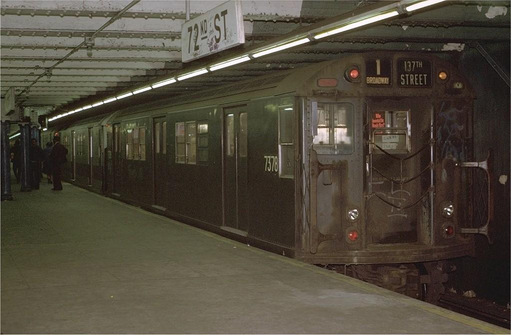 (196k, 1024x672)<br><b>Country:</b> United States<br><b>City:</b> New York<br><b>System:</b> New York City Transit<br><b>Line:</b> IRT West Side Line<br><b>Location:</b> 72nd Street <br><b>Route:</b> 1<br><b>Car:</b> R-22 (St. Louis, 1957-58) 7378 <br><b>Photo by:</b> Joe Testagrose<br><b>Date:</b> 5/22/1972<br><b>Viewed (this week/total):</b> 0 / 2821