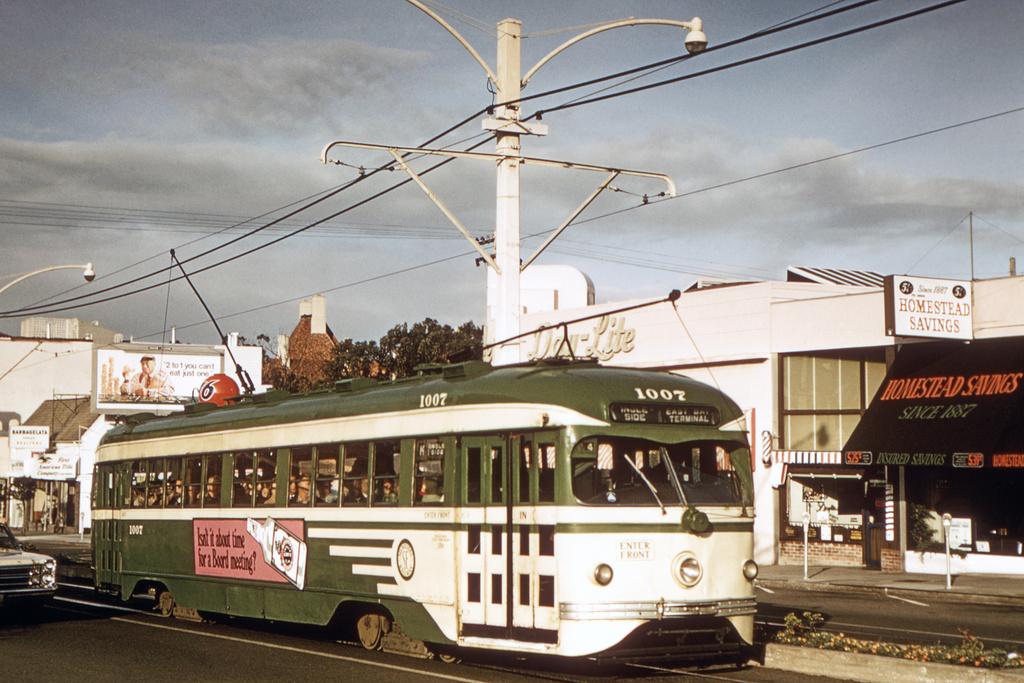 (399k, 1044x705)<br><b>Country:</b> United States<br><b>City:</b> San Francisco/Bay Area, CA<br><b>System:</b> SF MUNI<br><b>Line:</b> MUNI Metro (K/M)<br><b>Location:</b> West Portal/Vicente <br><b>Route:</b> K-Ingleside<br><b>Car:</b> SF MUNI PCC Torpedo Double-End (St. Louis Car Co., 1948)  1007 <br><b>Collection of:</b> David Pirmann<br><b>Date:</b> 7/11/1970<br><b>Viewed (this week/total):</b> 3 / 3426