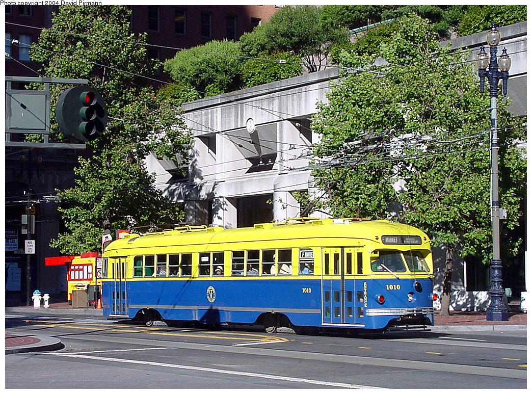 (407k, 1044x773)<br><b>Country:</b> United States<br><b>City:</b> San Francisco/Bay Area, CA<br><b>System:</b> SF MUNI<br><b>Location:</b> Market/Drumm/California <br><b>Route:</b> F-Market<br><b>Car:</b> SF MUNI PCC Torpedo Double-End (St. Louis Car Co., 1948)  1010 <br><b>Photo by:</b> David Pirmann<br><b>Date:</b> 7/6/2002<br><b>Viewed (this week/total):</b> 2 / 3623