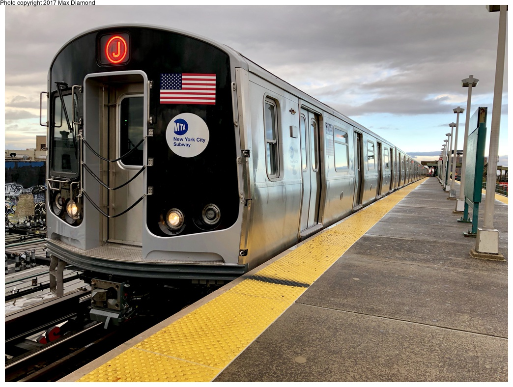 (317k, 1044x788)<br><b>Country:</b> United States<br><b>City:</b> New York<br><b>System:</b> New York City Transit<br><b>Line:</b> BMT Nassau Street/Jamaica Line<br><b>Location:</b> Alabama Avenue <br><b>Route:</b> J<br><b>Car:</b> R-179 (Bombardier, 2016-) 3065 <br><b>Photo by:</b> Max Diamond<br><b>Date:</b> 11/19/2017<br><b>Notes:</b> First day of service; 30 day in-service testing.<br><b>Viewed (this week/total):</b> 12 / 531