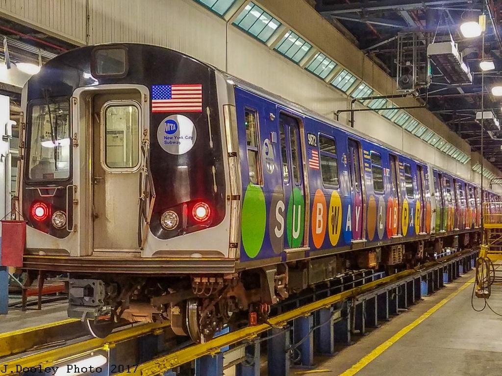 (377k, 1024x768)<br><b>Country:</b> United States<br><b>City:</b> New York<br><b>System:</b> New York City Transit<br><b>Location:</b> Jamaica Yard/Shops<br><b>Car:</b> R-160B (Option 2) (Kawasaki, 2009)  9872 <br><b>Photo by:</b> John Dooley<br><b>Date:</b> 5/17/2017<br><b>Viewed (this week/total):</b> 4 / 628