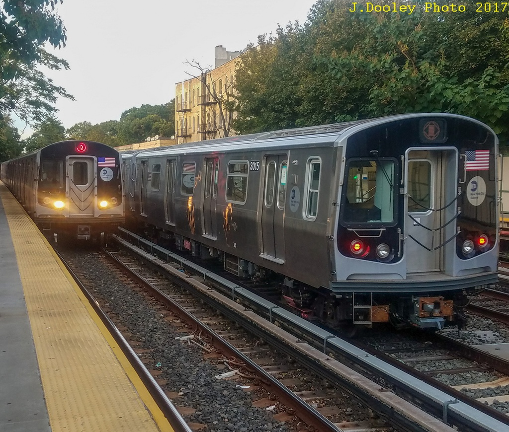 (409k, 1024x870)<br><b>Country:</b> United States<br><b>City:</b> New York<br><b>System:</b> New York City Transit<br><b>Line:</b> BMT Brighton Line<br><b>Location:</b> Avenue H <br><b>Route:</b> Testing<br><b>Car:</b> R-179 (Bombardier, 2016-) 3015 <br><b>Photo by:</b> John Dooley<br><b>Date:</b> 10/21/2017<br><b>Viewed (this week/total):</b> 0 / 801