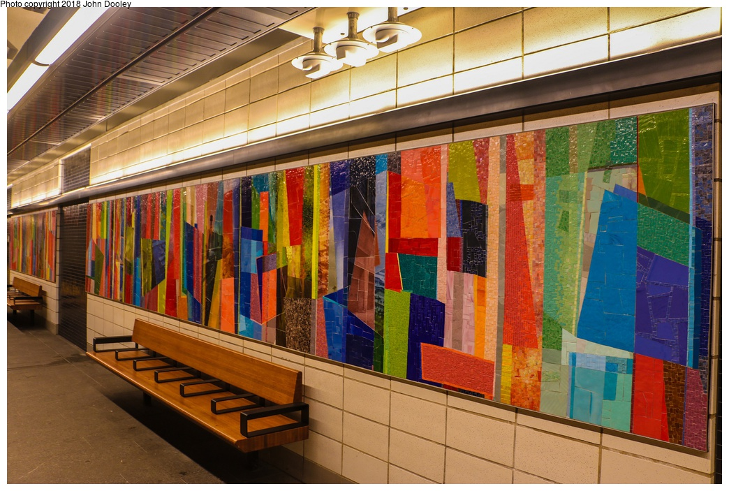 (327k, 1044x703)<br><b>Country:</b> United States<br><b>City:</b> New York<br><b>System:</b> New York City Transit<br><b>Line:</b> BMT 4th Avenue<br><b>Location:</b> Prospect Avenue <br><b>Photo by:</b> John Dooley<br><b>Date:</b> 11/4/2017<br><b>Artwork:</b> <i>Duration</i>, Monika Bravo (2017).<br><b>Notes:</b> Station renovations.<br><b>Viewed (this week/total):</b> 10 / 343