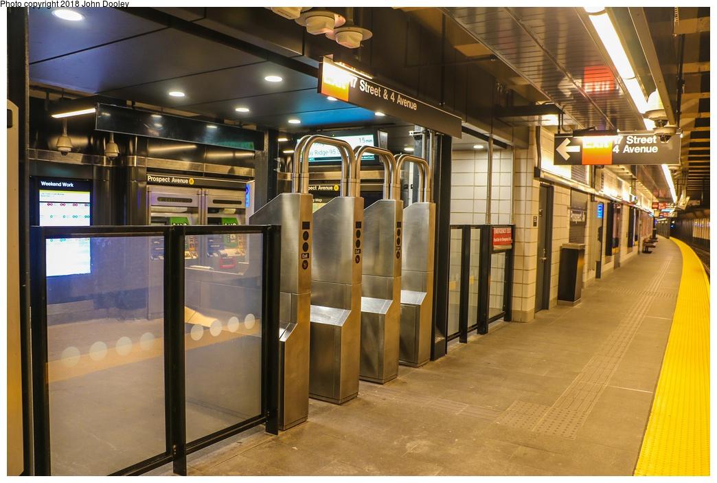 (279k, 1044x703)<br><b>Country:</b> United States<br><b>City:</b> New York<br><b>System:</b> New York City Transit<br><b>Line:</b> BMT 4th Avenue<br><b>Location:</b> Prospect Avenue <br><b>Photo by:</b> John Dooley<br><b>Date:</b> 11/4/2017<br><b>Notes:</b> Station renovations.<br><b>Viewed (this week/total):</b> 14 / 441