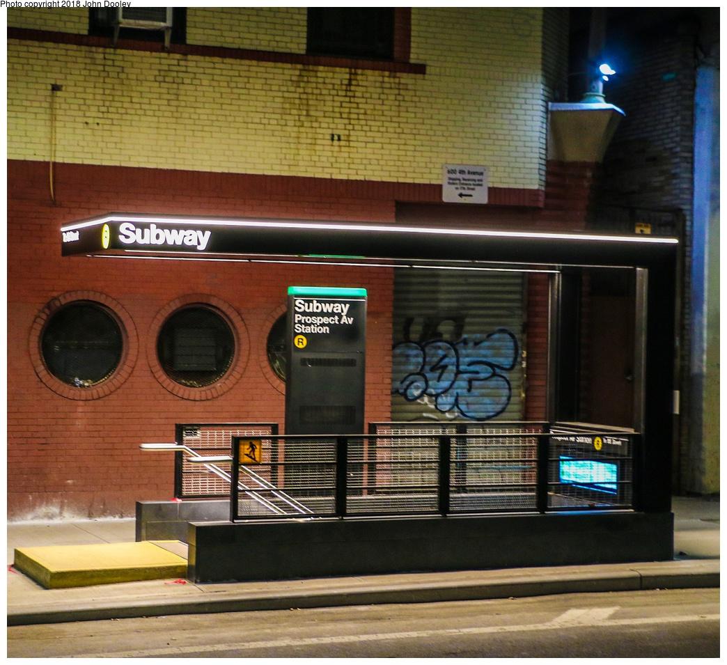(371k, 1044x955)<br><b>Country:</b> United States<br><b>City:</b> New York<br><b>System:</b> New York City Transit<br><b>Line:</b> BMT 4th Avenue<br><b>Location:</b> Prospect Avenue <br><b>Photo by:</b> John Dooley<br><b>Date:</b> 11/4/2017<br><b>Notes:</b> Station renovations.<br><b>Viewed (this week/total):</b> 2 / 470