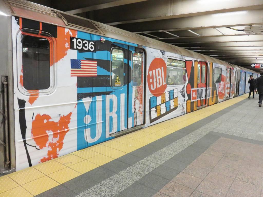 (135k, 1024x768)<br><b>Country:</b> United States<br><b>City:</b> New York<br><b>System:</b> New York City Transit<br><b>Line:</b> IRT Times Square-Grand Central Shuttle<br><b>Location:</b> Grand Central <br><b>Route:</b> S<br><b>Car:</b> R-62A (Bombardier, 1984-1987)  1936 <br><b>Photo by:</b> Robbie Rosenfeld<br><b>Date:</b> 10/17/2017<br><b>Notes:</b> JBL ad wrap<br><b>Viewed (this week/total):</b> 1 / 457