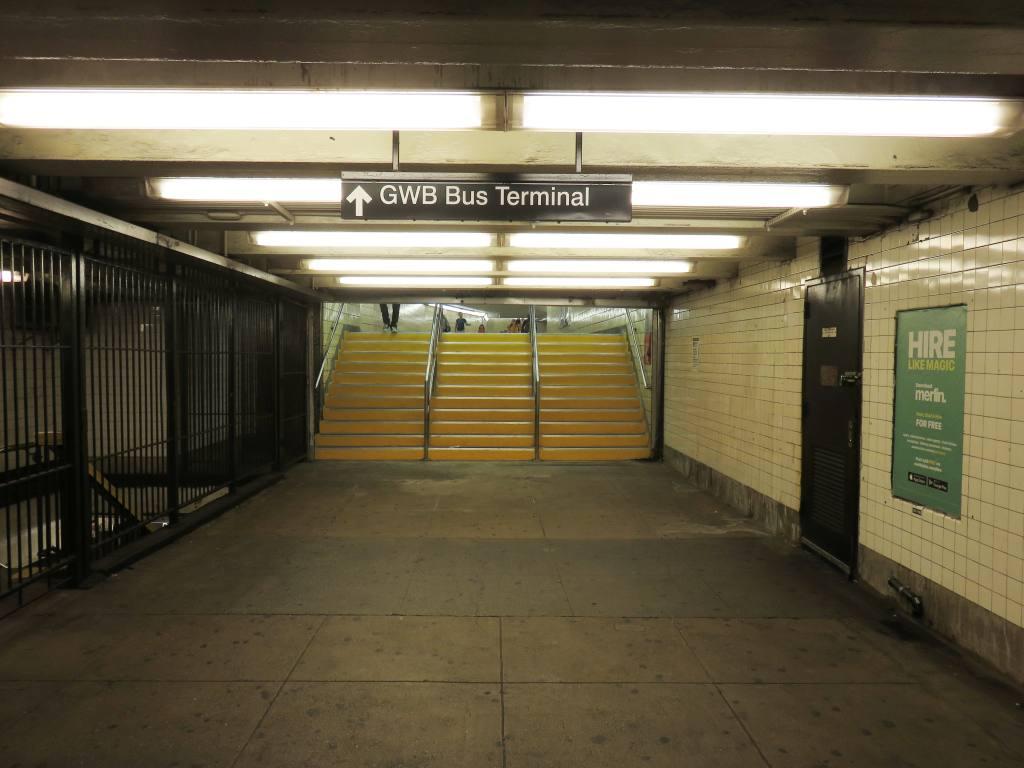 (96k, 1024x768)<br><b>Country:</b> United States<br><b>City:</b> New York<br><b>System:</b> New York City Transit<br><b>Line:</b> IND 8th Avenue Line<br><b>Location:</b> 175th Street/George Washington Bridge Bus Terminal <br><b>Photo by:</b> Robbie Rosenfeld<br><b>Date:</b> 9/4/2017<br><b>Notes:</b> Renovated passageway to A train station.<br><b>Viewed (this week/total):</b> 5 / 723