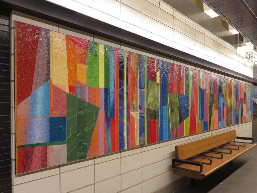 (133k, 1024x768)<br><b>Country:</b> United States<br><b>City:</b> New York<br><b>System:</b> New York City Transit<br><b>Line:</b> BMT 4th Avenue<br><b>Location:</b> Prospect Avenue <br><b>Photo by:</b> Robbie Rosenfeld<br><b>Date:</b> 11/8/2017<br><b>Artwork:</b> <i>Duration</i>, Monika Bravo (2017).<br><b>Viewed (this week/total):</b> 14 / 385