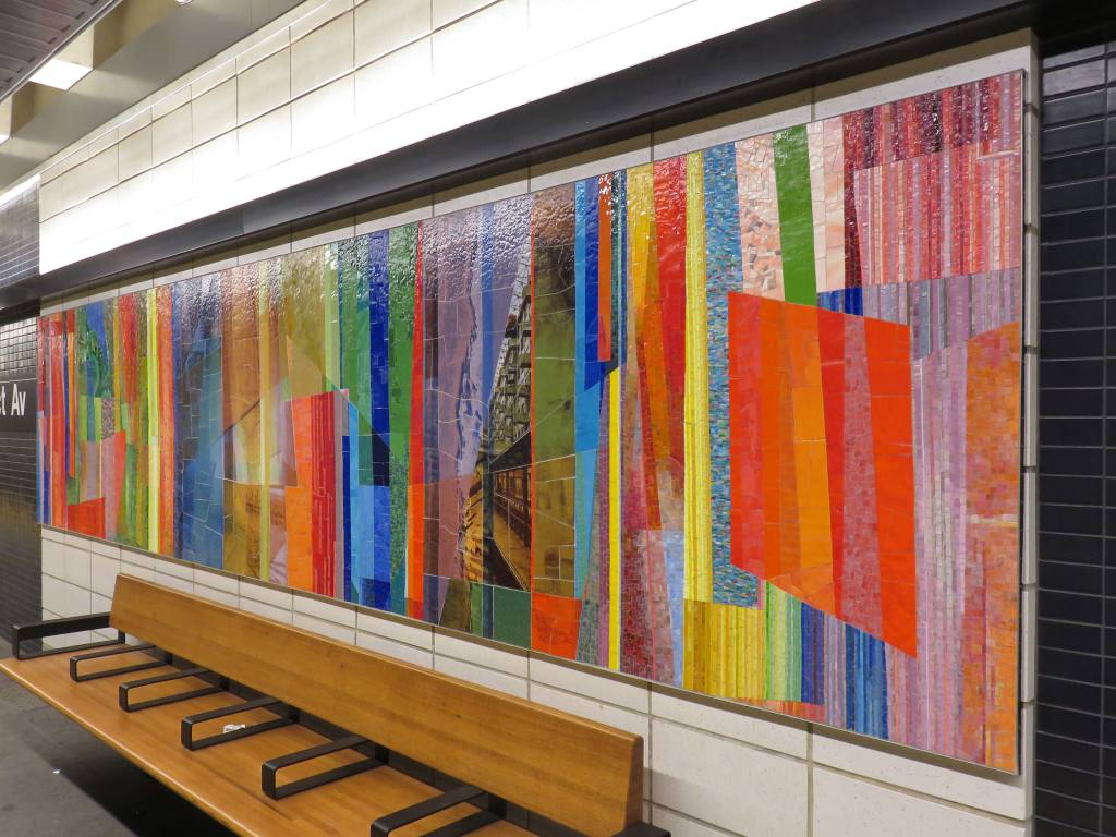 (139k, 1024x768)<br><b>Country:</b> United States<br><b>City:</b> New York<br><b>System:</b> New York City Transit<br><b>Line:</b> BMT 4th Avenue<br><b>Location:</b> Prospect Avenue <br><b>Photo by:</b> Robbie Rosenfeld<br><b>Date:</b> 11/8/2017<br><b>Artwork:</b> <i>Duration</i>, Monika Bravo (2017).<br><b>Viewed (this week/total):</b> 4 / 441
