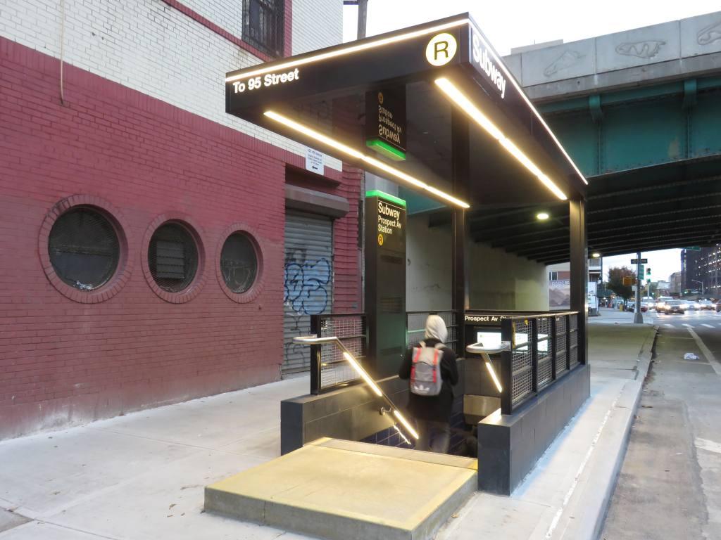 (109k, 1024x768)<br><b>Country:</b> United States<br><b>City:</b> New York<br><b>System:</b> New York City Transit<br><b>Line:</b> BMT 4th Avenue<br><b>Location:</b> Prospect Avenue <br><b>Photo by:</b> Robbie Rosenfeld<br><b>Date:</b> 11/8/2017<br><b>Notes:</b> Station renovations.<br><b>Viewed (this week/total):</b> 2 / 819