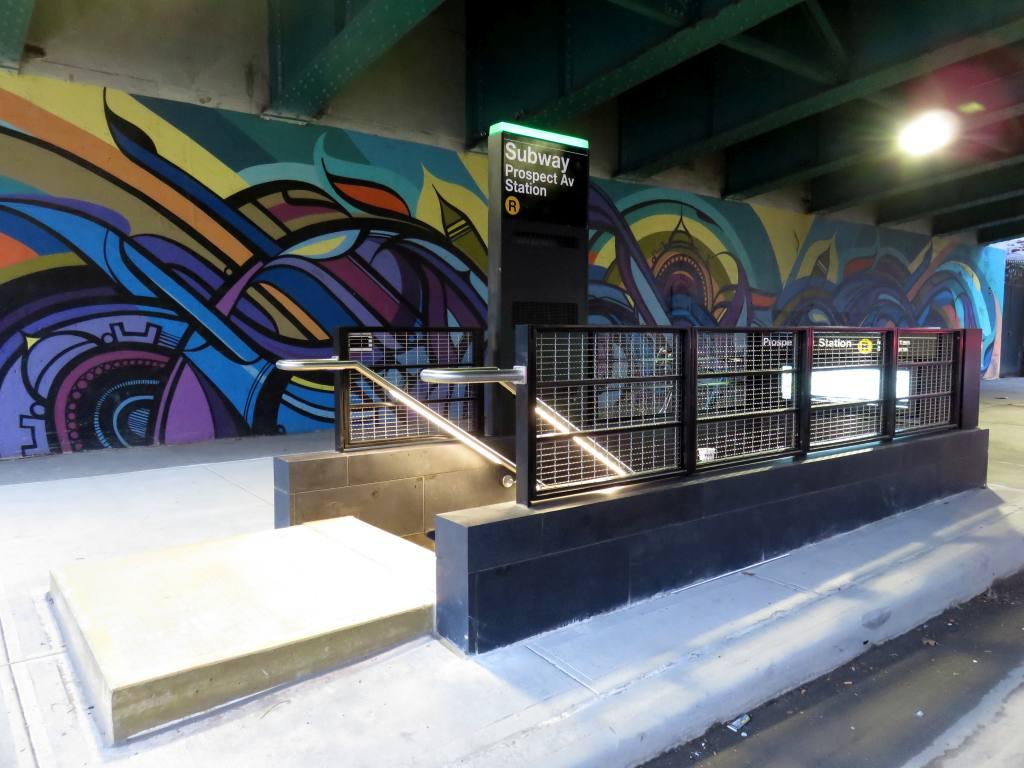 (116k, 1024x768)<br><b>Country:</b> United States<br><b>City:</b> New York<br><b>System:</b> New York City Transit<br><b>Line:</b> BMT 4th Avenue<br><b>Location:</b> Prospect Avenue <br><b>Photo by:</b> Robbie Rosenfeld<br><b>Date:</b> 11/8/2017<br><b>Notes:</b> Station renovations.<br><b>Viewed (this week/total):</b> 0 / 705