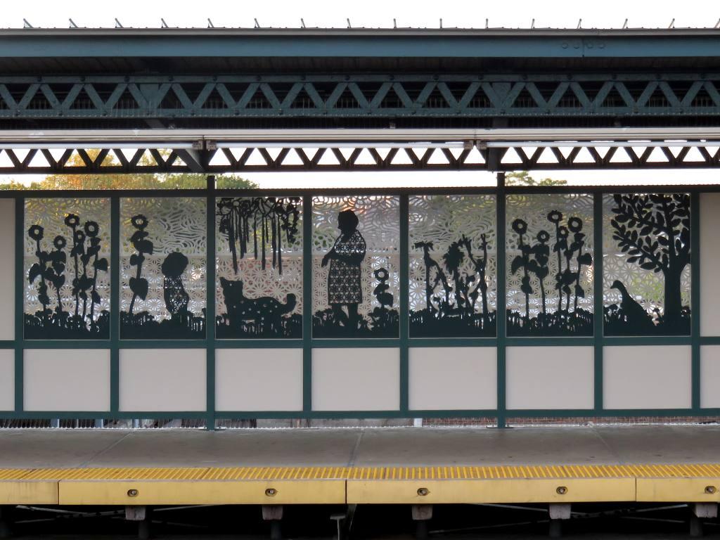 (134k, 1024x768)<br><b>Country:</b> United States<br><b>City:</b> New York<br><b>System:</b> New York City Transit<br><b>Line:</b> IRT Brooklyn Line<br><b>Location:</b> Van Siclen Avenue <br><b>Photo by:</b> Robbie Rosenfeld<br><b>Date:</b> 9/26/2017<br><b>Artwork:</b> <i>Urban Garden Rail</i>, Saya Woolfalk (2017).<br><b>Viewed (this week/total):</b> 1 / 523