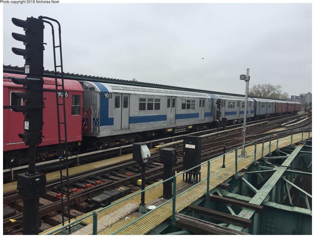 (297k, 1044x788)<br><b>Country:</b> United States<br><b>City:</b> New York<br><b>System:</b> New York City Transit<br><b>Line:</b> IRT Flushing Line<br><b>Location:</b> Willets Point/Mets (fmr. Shea Stadium) <br><b>Route:</b> Museum Train Service<br><b>Car:</b> R-33 Main Line (St. Louis, 1962-63) 9011 <br><b>Photo by:</b> Nicholas Noel<br><b>Date:</b> 4/21/2017<br><b>Viewed (this week/total):</b> 11 / 355