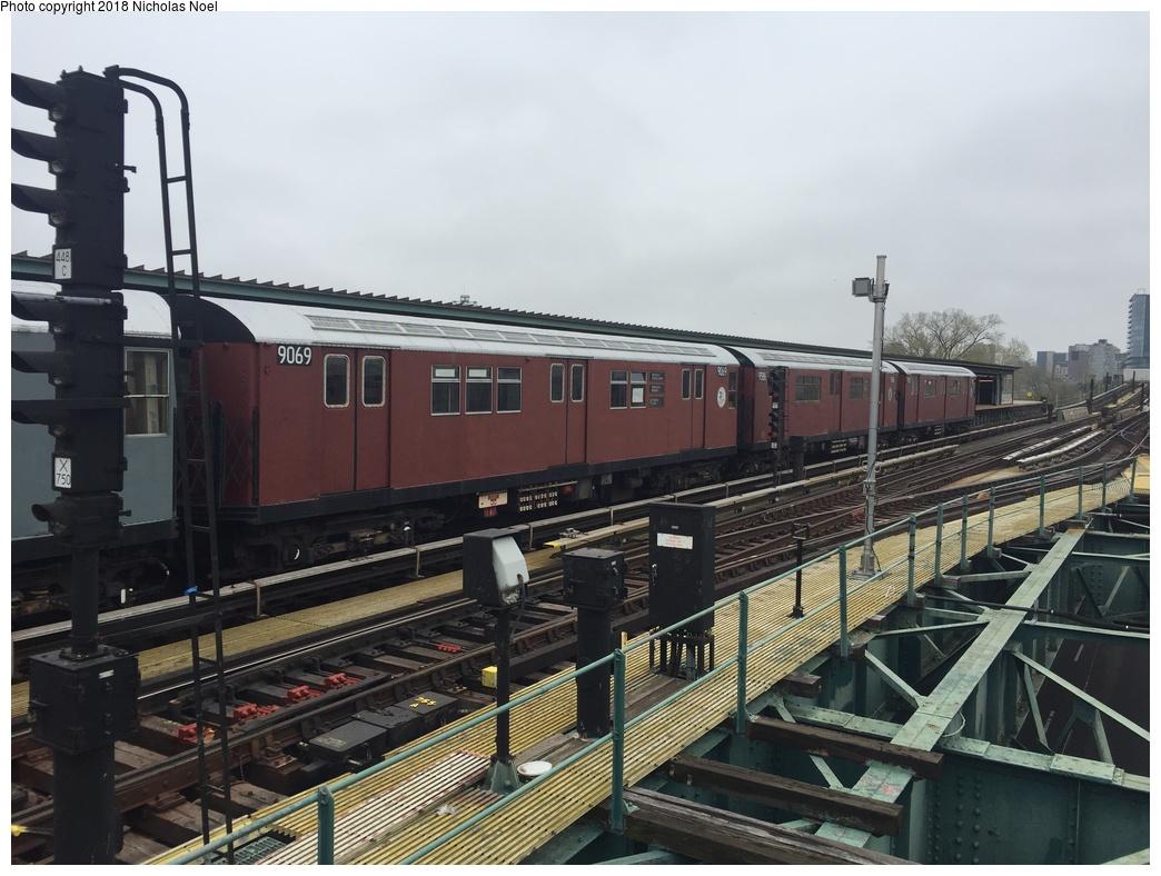 (283k, 1044x788)<br><b>Country:</b> United States<br><b>City:</b> New York<br><b>System:</b> New York City Transit<br><b>Line:</b> IRT Flushing Line<br><b>Location:</b> Willets Point/Mets (fmr. Shea Stadium) <br><b>Route:</b> Museum Train Service<br><b>Car:</b> R-33 Main Line (St. Louis, 1962-63) 9069 <br><b>Photo by:</b> Nicholas Noel<br><b>Date:</b> 4/21/2017<br><b>Viewed (this week/total):</b> 24 / 423